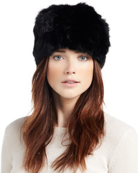 Adrienne Landau Knit Rabbit Fur Beanie Hat Black