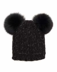 Eugenia Kim Mimi Knit Beanie Hat Wfur Pom Poms Black