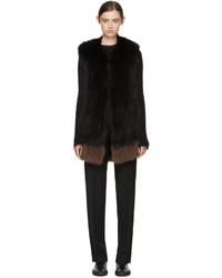 Black brown knit fur vest medium 5082255