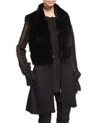 St. John Collection Rabbit Fur Knit Vest Caviar