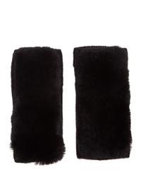 Yves Salomon Black Rex Rabbit Fur And Cashmere Gloves