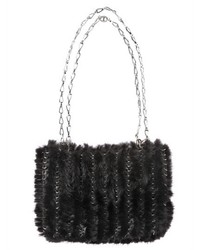 Paco rabanne iconic knitted mink shoulder bag medium 423481