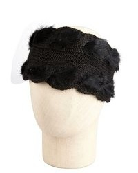 Wyatt Black Wool Blend Cable Knit Rabbit Fur Headband