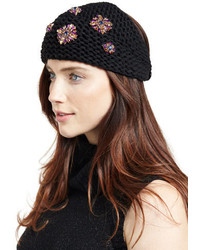 Jennifer Behr Embellished Wool Snowdrop Headband Blackpurple