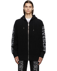 Givenchy Black Boucl Barbed Wire Zip Hoodie