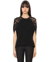 Valentino Wool Cashmere Knit Lace Top