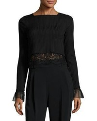 3.1 Phillip Lim Lace Trim Rib Knit Cropped Top