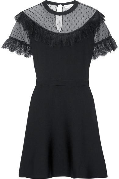 795 Red Valentino Redvalentino Lace And Point Desprit Paneled Stretch Knit Mini Dress Black