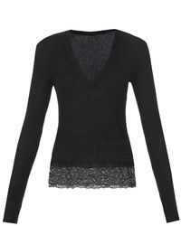 Givenchy Lace Trimmed Fine Knit Sweater