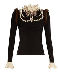 Gucci Necklace Embellished Wool Blend Knit Sweater