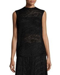 Lafayette 148 New York Sleeveless Knit Lace Sweater Black
