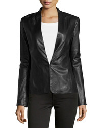 Black Knit Leather Blazer