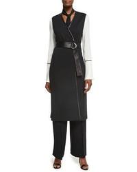 St. John Collection Milano Knit A Line Long Line Vest W Napa Leather