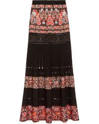 Roberto Cavalli Jacquard And Pointelle Knit Maxi Skirt Black