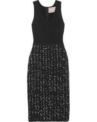 Lela Rose Ribbed Knit And Boucl Tweed Dress Black