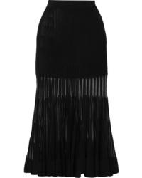 Alexander McQueen Ed Ribbed Stretch Knit Midi Skirt