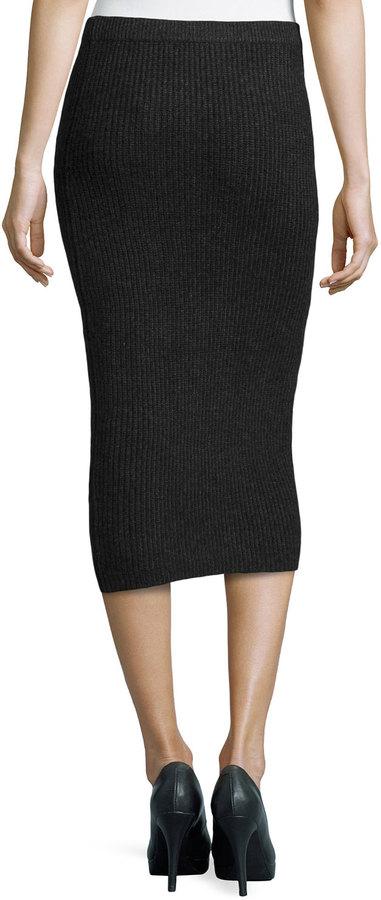 37bc62d196 Michael Kors Michl Kors Cashmere Shaker Knit Pencil Skirt Charcoal ...