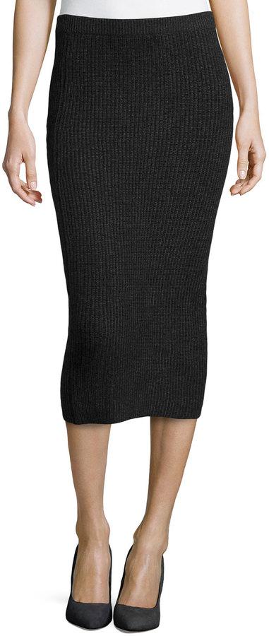 1b125c7ac ... Black Knit Midi Skirts Michael Kors Michl Kors Cashmere Shaker Knit  Pencil Skirt Charcoal ...