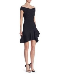 Herve Leger Nicole Knit Off The Shoulder Dress