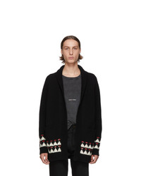 Saint Laurent Black Wool Jacquard Cardigan
