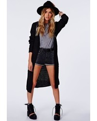 Missguided Arin Longline Chunky Knit Cardigan Black