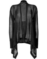 DKNY Silk Cashmere Open Knit Drape Front Cardigan