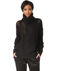 DKNY Oversized Turtleneck Intarsia Sweater