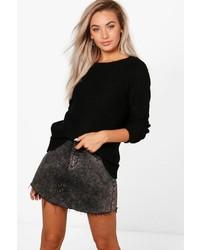 Boohoo Karina Oversized Rib Cuff Soft Knit Jumper
