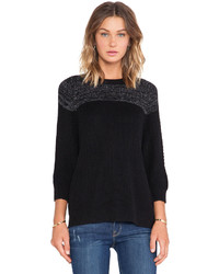 Shae Sh Blocked Ribbed Pullover Sweater