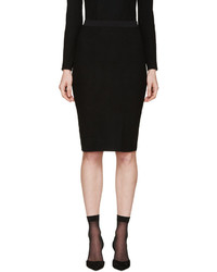 Nina Ricci Black Ribbed Knit Skirt