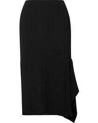 Max Mara Fano Draped Asymmetric Ribbed Knit Midi Skirt