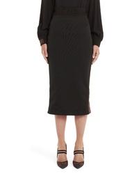 Fendi Logo Stripe Jersey Pencil Skirt