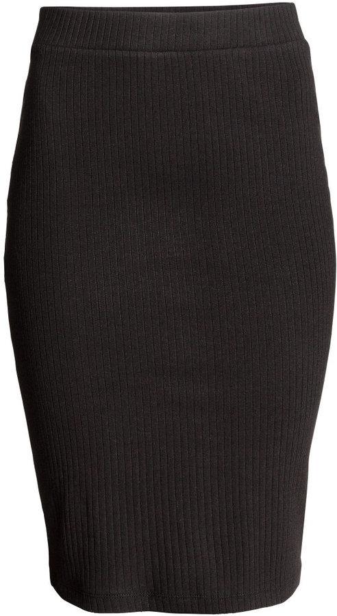 63f8f3e49 H&M Ribbed Jersey Skirt Black Ladies, $17 | H & M | Lookastic.com
