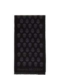 Alexander McQueen Black And Grey Skull Scarf