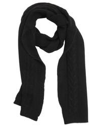 Portolano Black Cashmere Cable Knit Scarf
