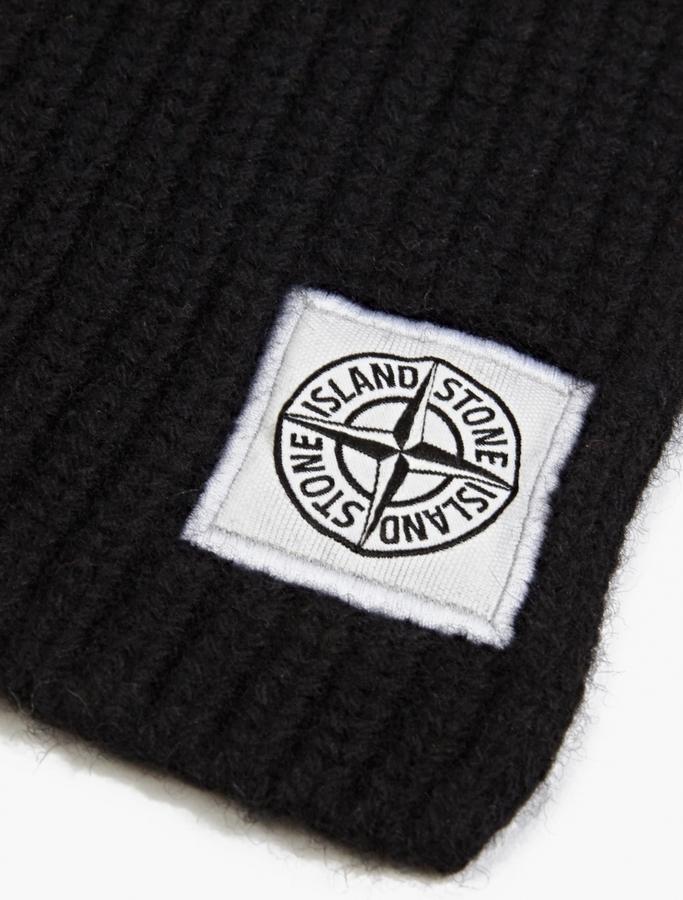 c025cd8ff Black Ribbed Wool Scarf