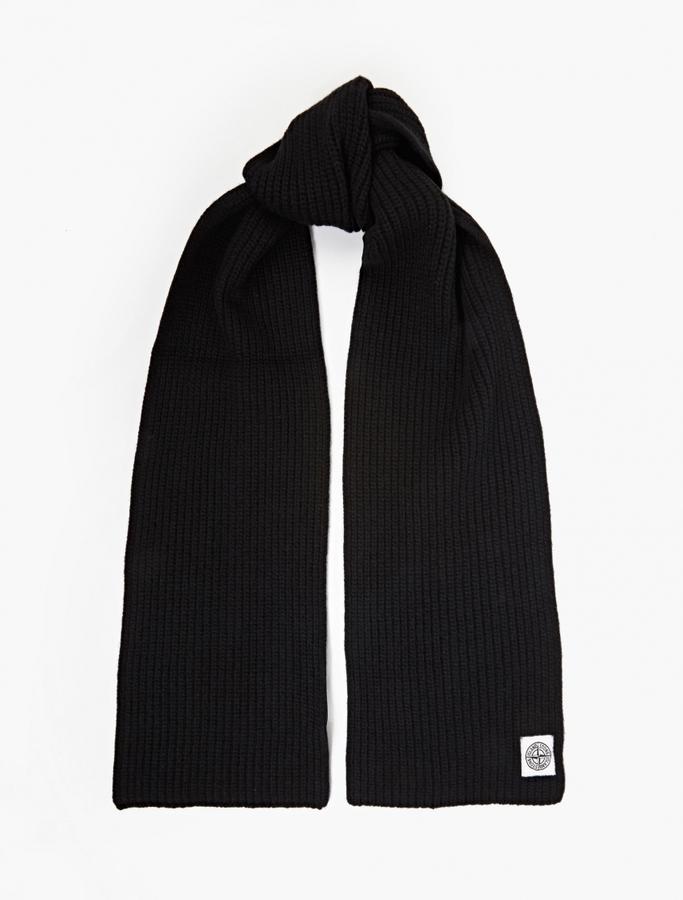 c2fc57d31 $122, Stone Island Black Ribbed Wool Scarf
