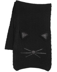 Karl Lagerfeld Cat Face Knit Scarf