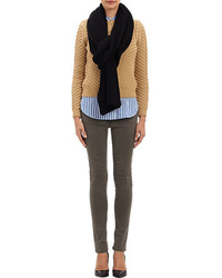 Barneys New York Chunky Rib Knit Scarf Black