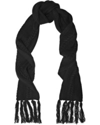 Frame Fringed Cable Knit Wool And Cashmere Blend Scarf Black