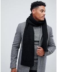 ASOS DESIGN Knitted Scarf In Black Recycled Polyester