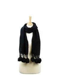 LA77 Black Knit Pom Pom Scarf