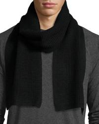 John Varvatos Waffle Knit Solid Scarf Black