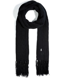 Polo Ralph Lauren Wool Cashmere Classic Cable Scarf In Polo Black