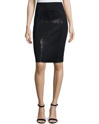 St. John Signature Santana Knit Sequined Skirt Black