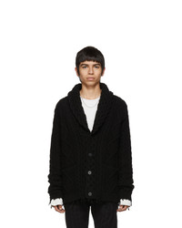 Black Knit Shawl Cardigan