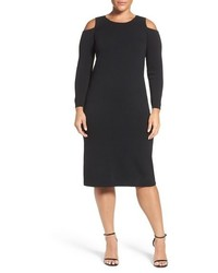 Plus size cold shoulder stretch knit sheath dress medium 801893