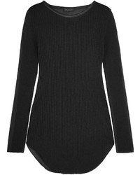 Rag & Bone Marisol Silk Trimmed Ribbed Knit And Voile Top Black