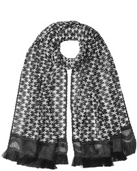 Missoni Patterned Knit Scarf With Fringe