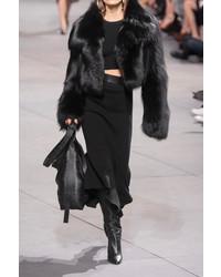 Michael Kors Michl Kors Collection Ribbed Knit Wool Blend Midi Skirt Black